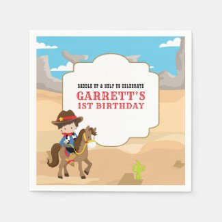 Cute Cowboy 1st Birthday Party Napkins