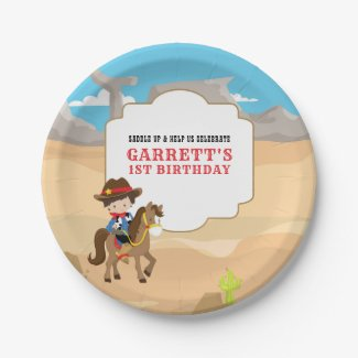 Cute Cowboy 1st Birthday Party Paper Plate