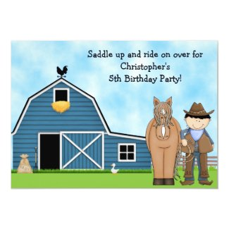 Cute Cowboy and Horse Boys Birthday Invitation