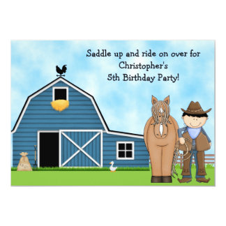 Cute Cowboy and Horse Boys Birthday Invitation