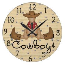 Cute Cowboy Bear Large Wall Clock