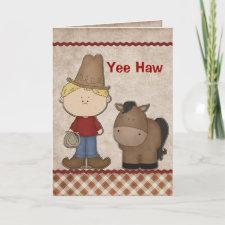 Cute Cowboy Birthday Greeting Card