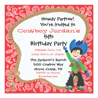 Cute cowboy birthday party lasso Invitation Card