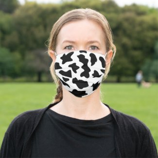 Cute black and white cow print cloth face mask