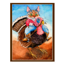 Cute cowboy cat riding turkey postcard