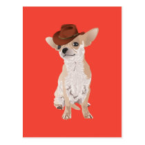 Cute Cowboy Chihuahua Dog Postcard