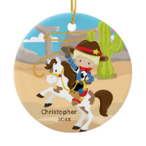Cute Cowboy Horseback Boy Christmas Ornament