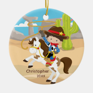 Cute Cowboy Horseback Boy Christmas Ornament