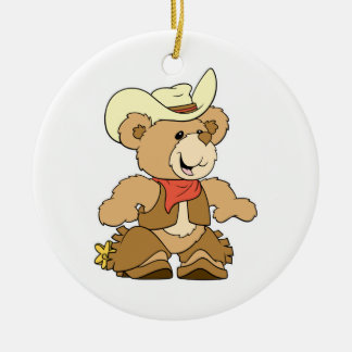 Cute Cowboy Rancher Bear Double-Sided Ceramic Round Christmas Ornament