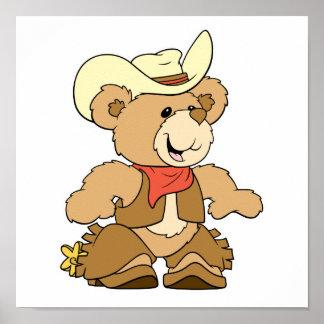 Cute Cowboy Rancher Bear Poster