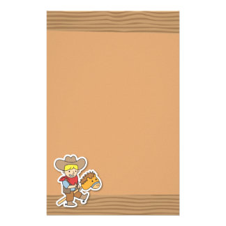 Cute cowboy riding on a horse stick stationery
