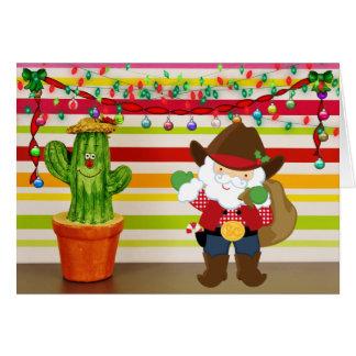 Cute Cowboy Santa and Cactus Southwest Christmas Card