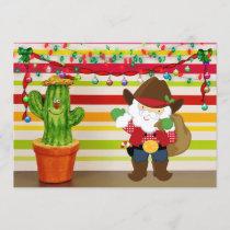 Cute Cowboy Santa and Cactus Southwest Christmas Holiday Card