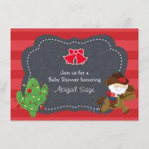 Cute Cowboy Santa and Horse Christmas Baby Shower Invitation