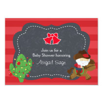 Cute Cowboy Santa and Horse Christmas Baby Shower Invitation