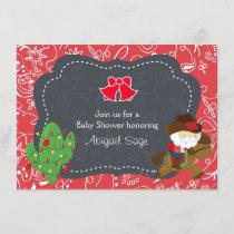 Cute Cowboy Santa and Horse Holiday Baby Shower Invitation