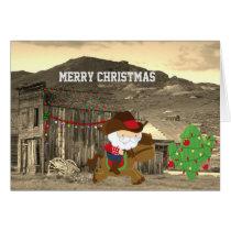 Cute Cowboy Santa Riding Horse Western Christmas Card