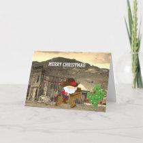 Cute Cowboy Santa Riding Horse Western Christmas Holiday Card