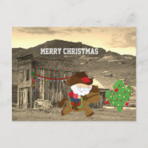 Cute Cowboy Santa Riding Horse Western Christmas Holiday Postcard