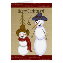 Cute Cowboy Snowman Christmas Card