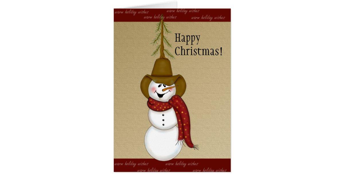 Cute Cowboy Snowman Christmas Greeting Card Zazzle