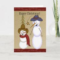 Cute Cowboy Snowman Christmas Holiday Card