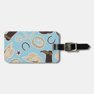 Cute Cowboy Theme Pattern Blue Tag For Luggage