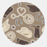 Cute Cowboy Theme Pattern Brown Classic Round Sticker
