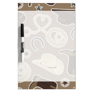 Cute Cowboy Theme Pattern Brown Dry-Erase Board