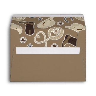Cute Cowboy Theme Pattern Brown Envelope