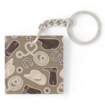 Cute Cowboy Theme Pattern Brown Keychain