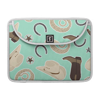 Cute Cowboy Theme Pattern Mint Sleeve For MacBooks
