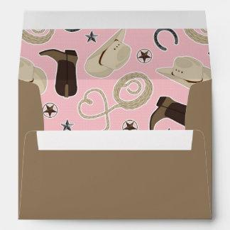 Cute Cowboy Theme Pattern Pink and Brown Envelopes