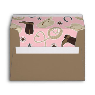 Cute Cowboy Theme Pattern Pink and Brown Envelope