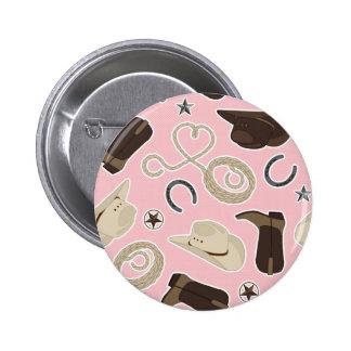 Cute Cowboy Theme Pattern Pink Pinback Button