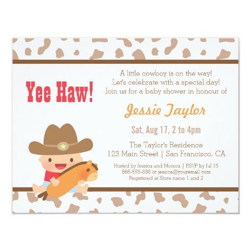 Baby Shower Cowboy Theme: Cute Cowboy Western Theme Baby Shower Invitations