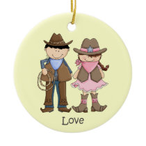 Cute Cowgirl and Cowboy Love Ornament