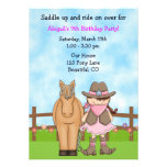 Cute Cowgirl and Horse Birthday Invitation