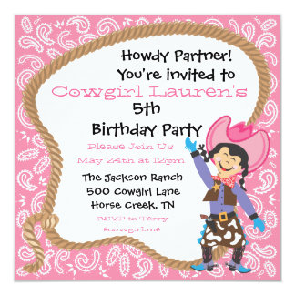 Cute cowgirl birthday party lasso Invitation Card