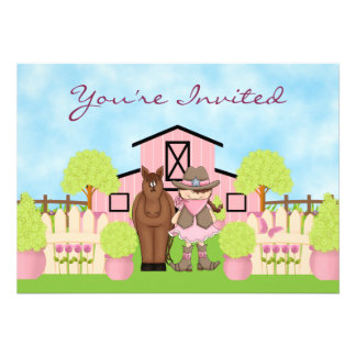 Cute Cowgirl Horse and Barn Birthday Invitation