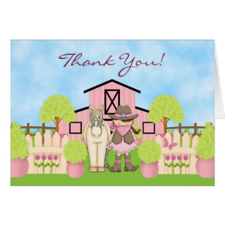 Cute Cowgirl Horse and Barn Thank You Card