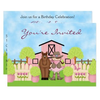 Cute Cowgirl, Horse and Pink Barn Birthday Invite