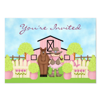 Cute Cowgirl, Horse and Pink Barn Birthday Party 5x7 Paper Invitation Card