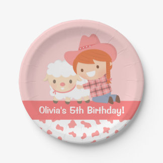 Cute Cowgirl Hugs Lamb Girls Birthday Party 7 Inch Paper Plate