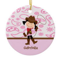 Cute Cowgirl in Pink Ornament