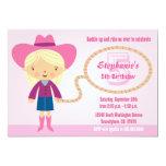 """Cute cowgirl lasso girl's birthday party invite 5"""" x 7"""" invitation card"""