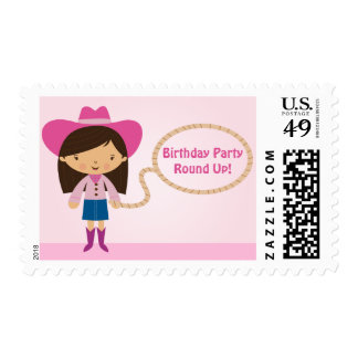 Cute cowgirl lasso girl's birthday party stamps