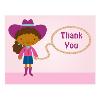 Cute cowgirl lasso girl's thank you postcard