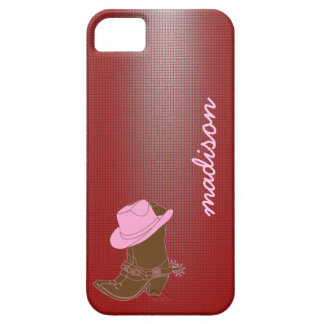 Cute Cowgirl phone; boot w/ hat on Red, add name iPhone SE/5/5s Case