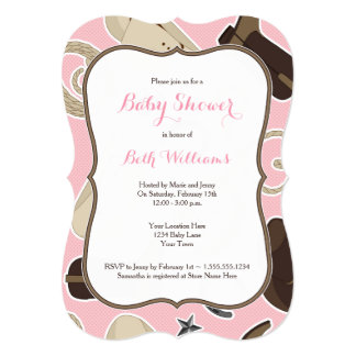 Cute Cowgirl Theme Baby Shower Invite Pink Brown Personalized Invite